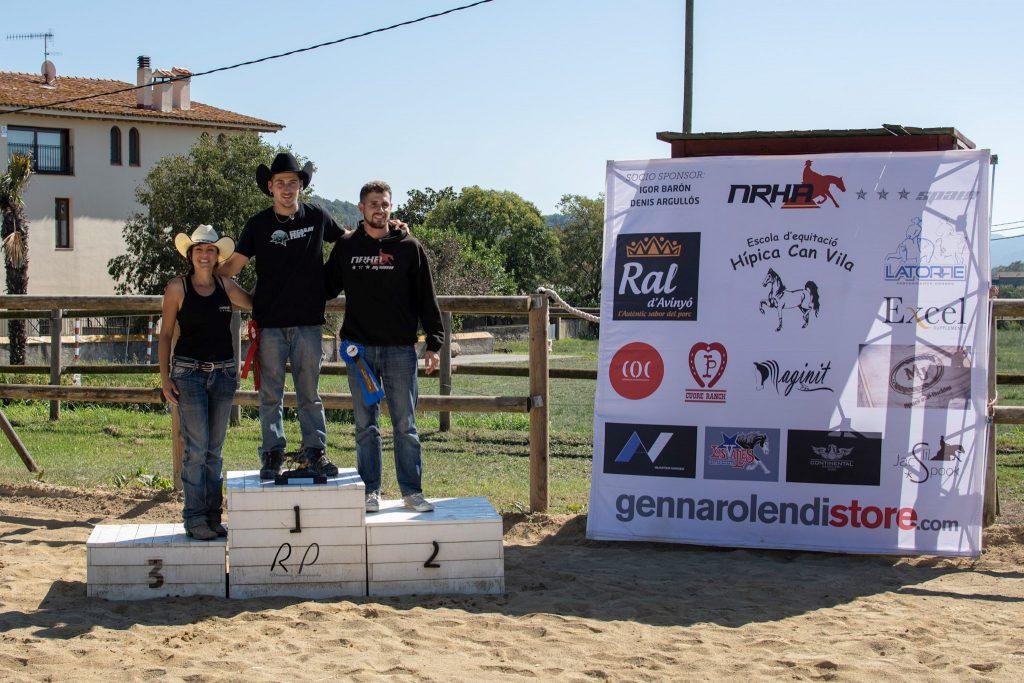 NRHA Spain 2019 Limited Non Pro: Champion, Julio Gómez y ML Shes Got Spirit. Reserve Champion, Adrián Zornoza y  TK Blocka Tari Jet. 3ª, Miriam Perera Román y Hesa Snap Jac Chic